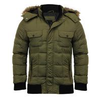 dc80a01252368 Enyo Quilted Puffer Jacket With Detachable Fur Trim Hood in Amazon Khaki –  Dissident